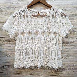 Decree White Lace Short Sleeve Blouse